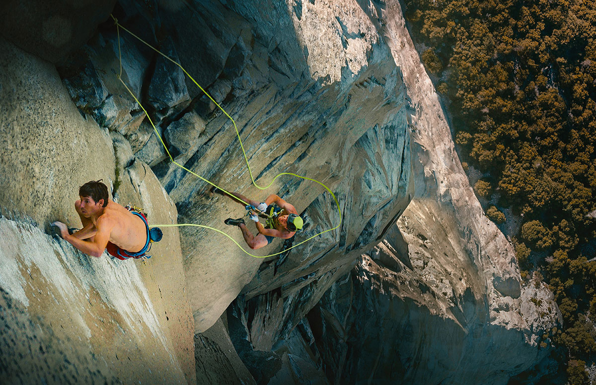 Alec Honnold and Tommy Caldwell on their record ascent of Nose Record - copyright RR14