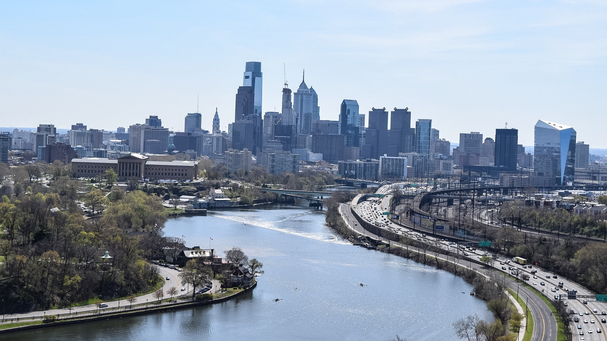 The view from the Zoo Balloon, which rises 400 feet above the ground to show a breathtaking view of Philadelphia and beyond