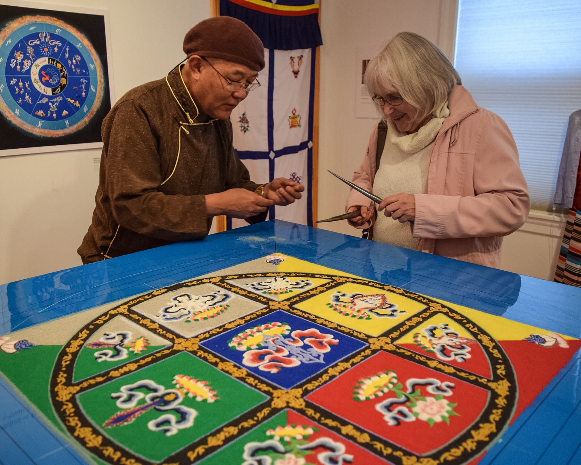 Losang Samten is one of only 30 people worldwide qualified to teach the art of Tibetan sandpainting. A former Buddhist monk, in 1988 he was sent to America by the Dalai Lama to demonstrate the art form of the sand mandala. That marked the first time a sand mandala had been created in the West.