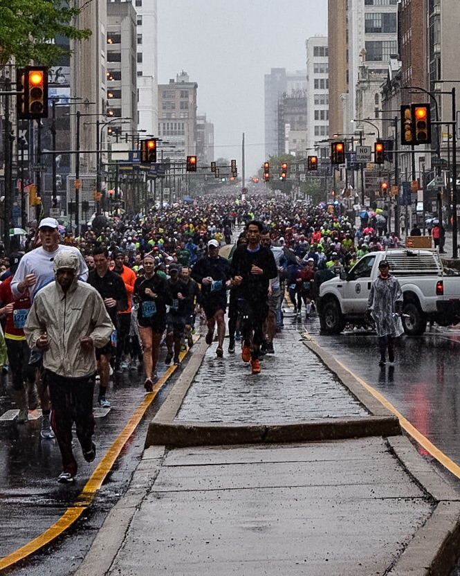 The masses coming down Broad Street