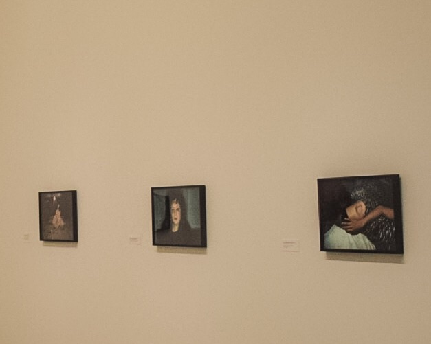 """Some images from Nan Goldin's """"The Ballad of Sexual Dependency"""". While I normally hate taking photographs of another artist's photographs (without people in the foreground), the pairing of the middle one (Self Portrait One Month After Being Battered) and the one on the right (Heart Shaped Bruise) took my breath away. The slide show, which she originated in the 80's and was playing in an adjoining room, carried just as much weight and was quite stunning."""