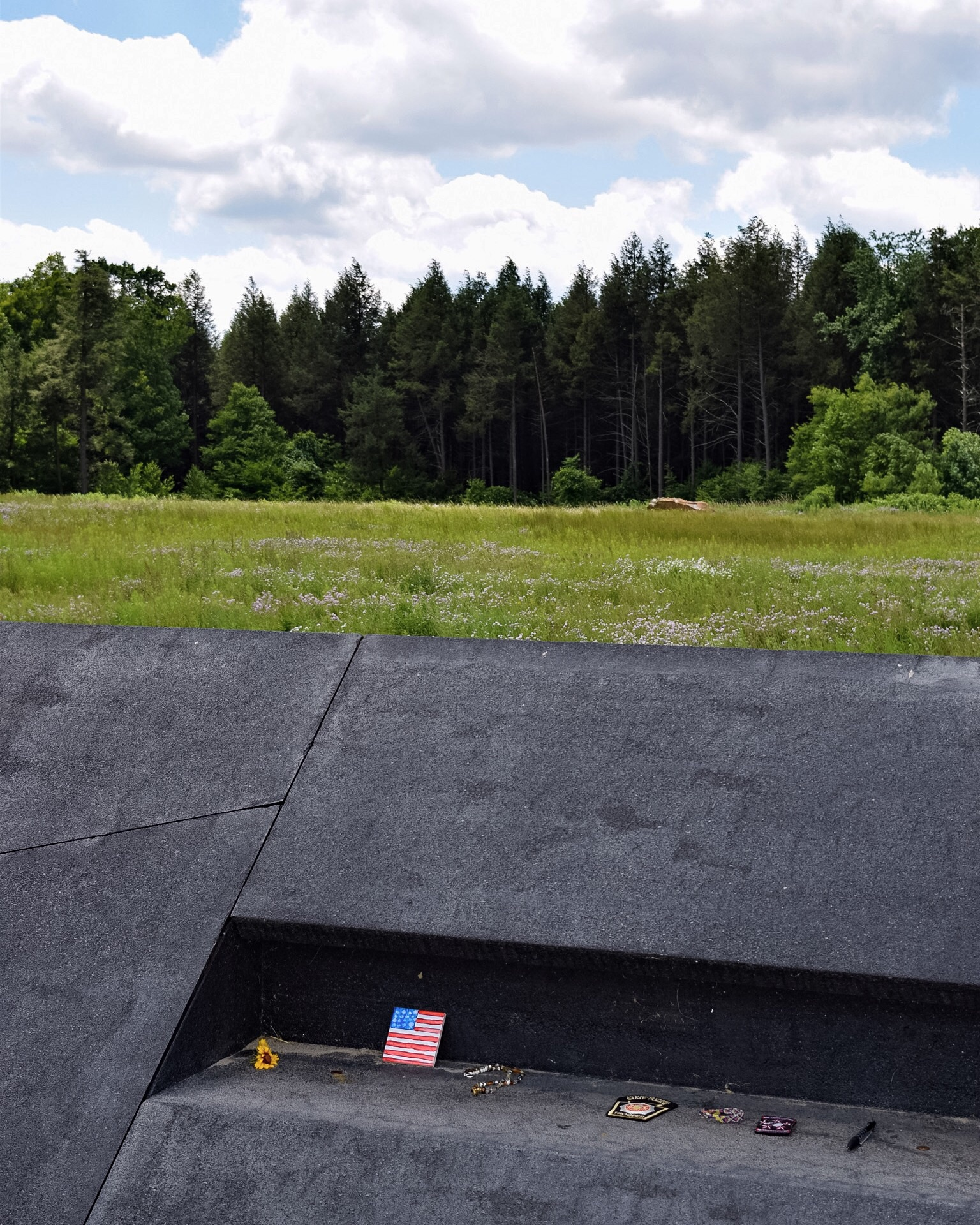 Shenksville, PA. The boulder marks the impact site of Flight 93.