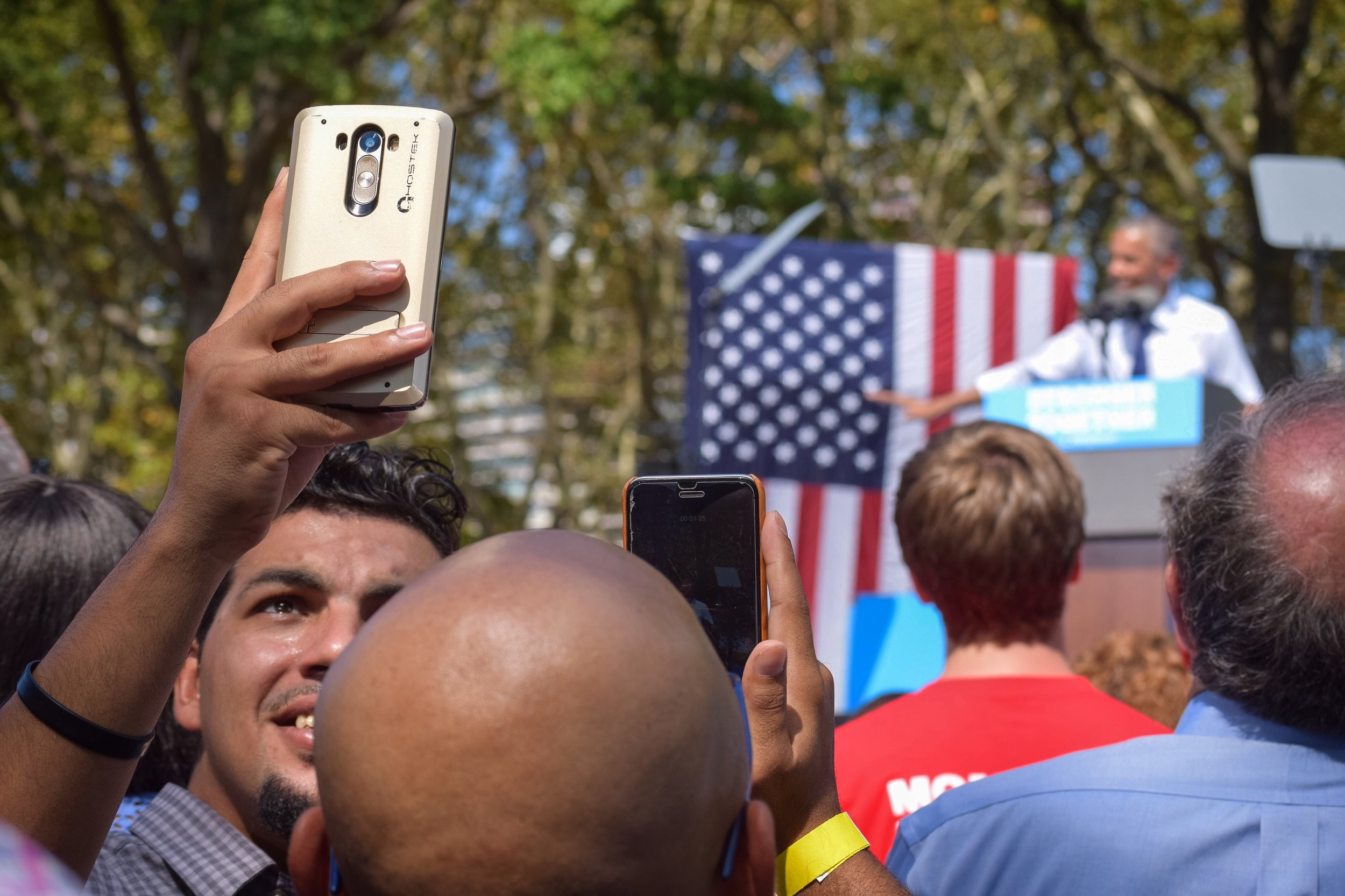 Mid-speech selfie.