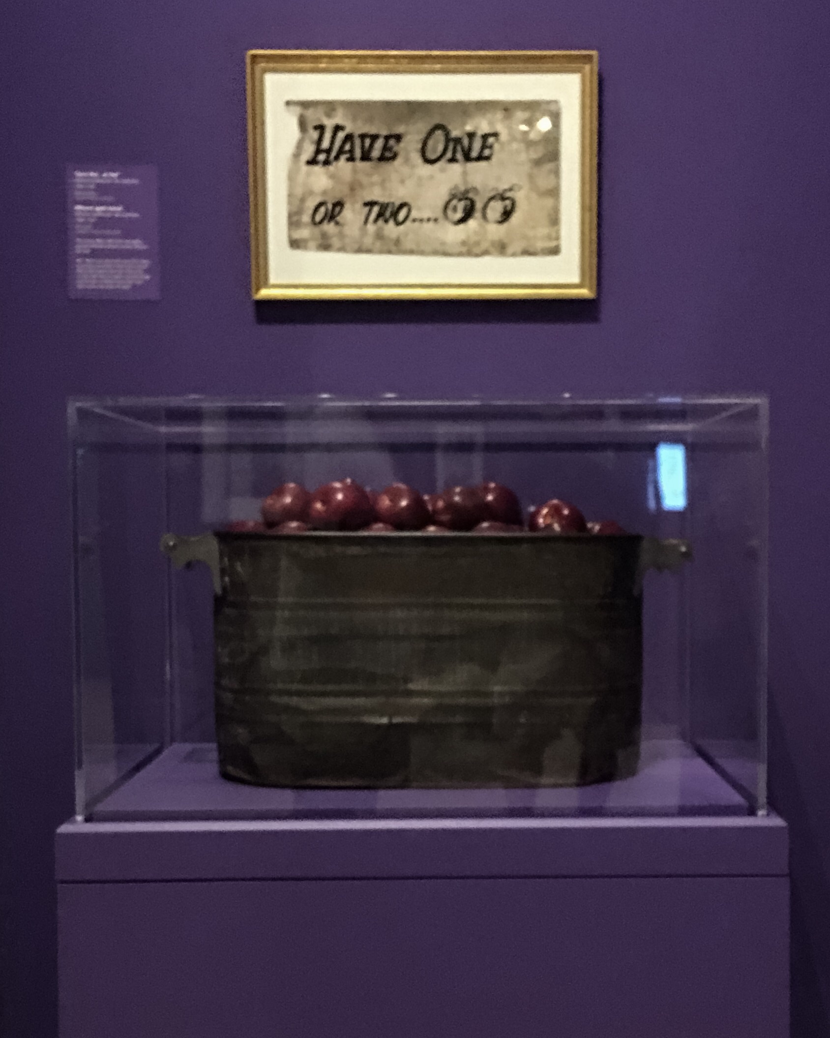 The apple bucket that was set out at every show at the Fillmore West providing free apples to guests.   The NMAJM is keeping this tradition alive in their lobby as you exit.