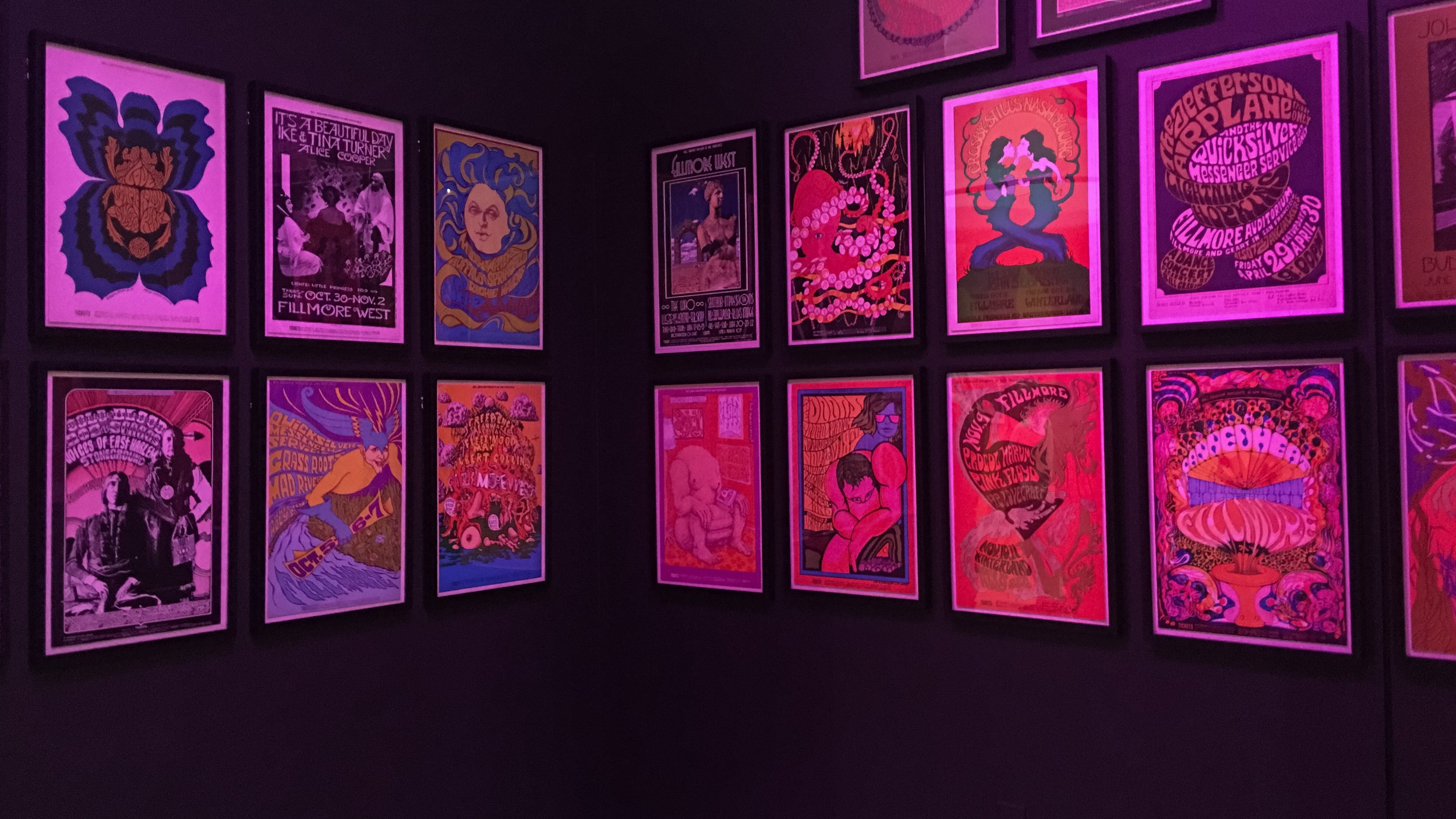 Just a few of the original concert posters from the 60's from venues owned by Bill Graham.