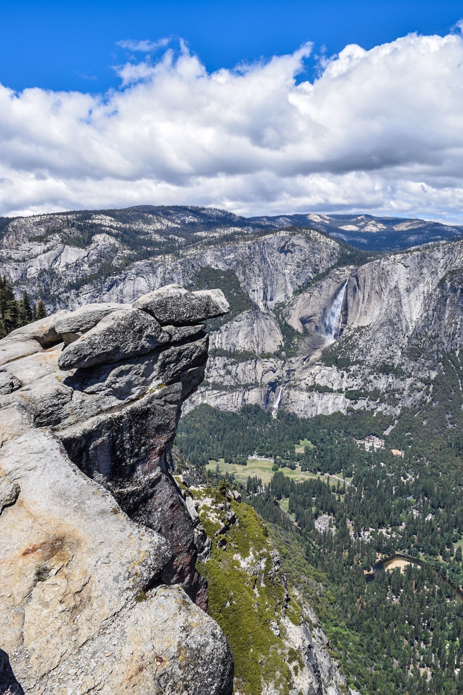 View of the valley and Yosemite Falls.