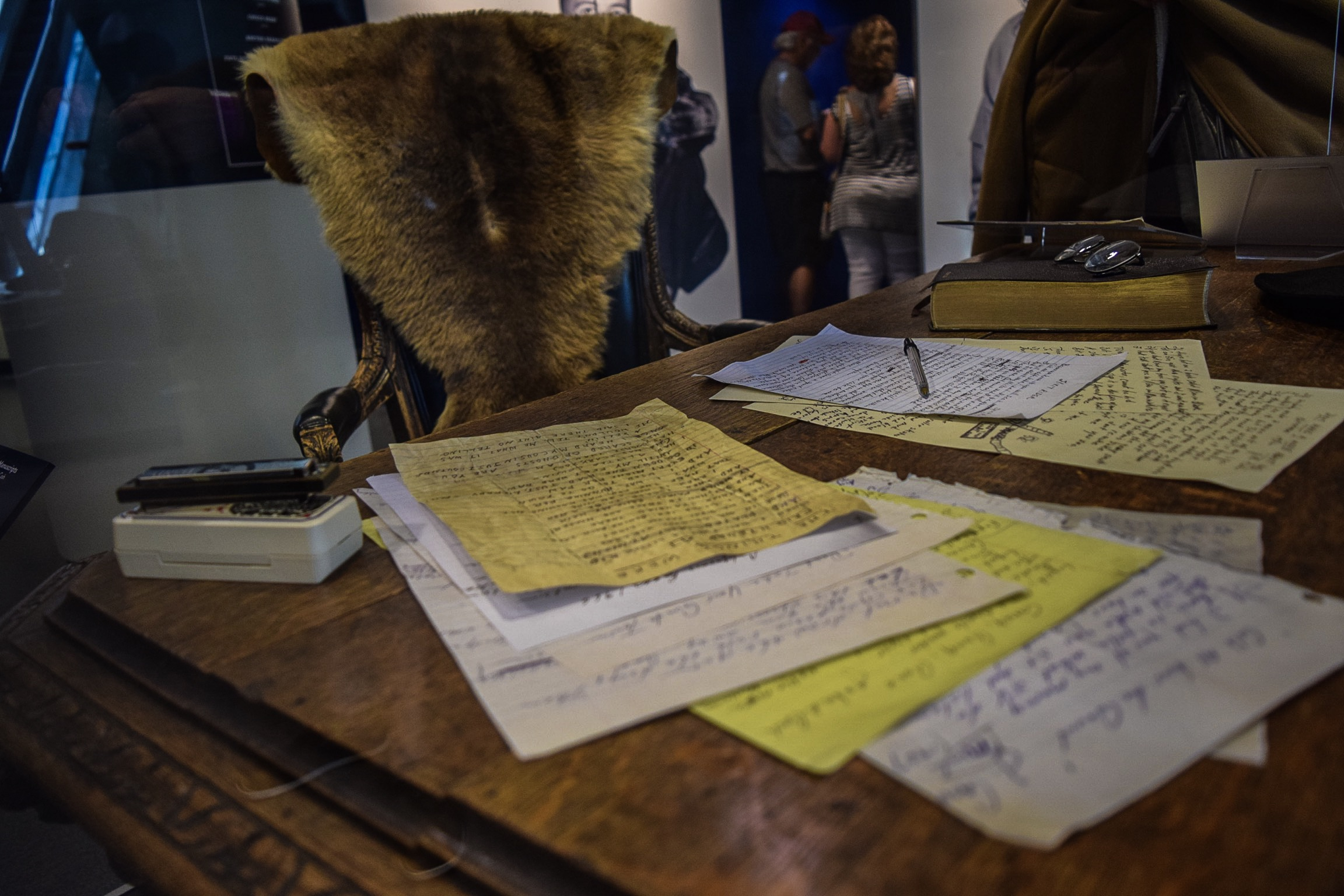 Just part of the collection: Johnny Cash's writing desk, along with contracts, letters, and his harmonica.