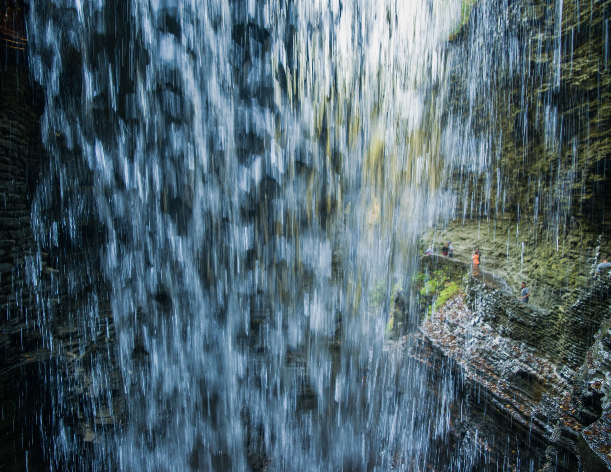 Behind the waterfall at Cavern Cascade