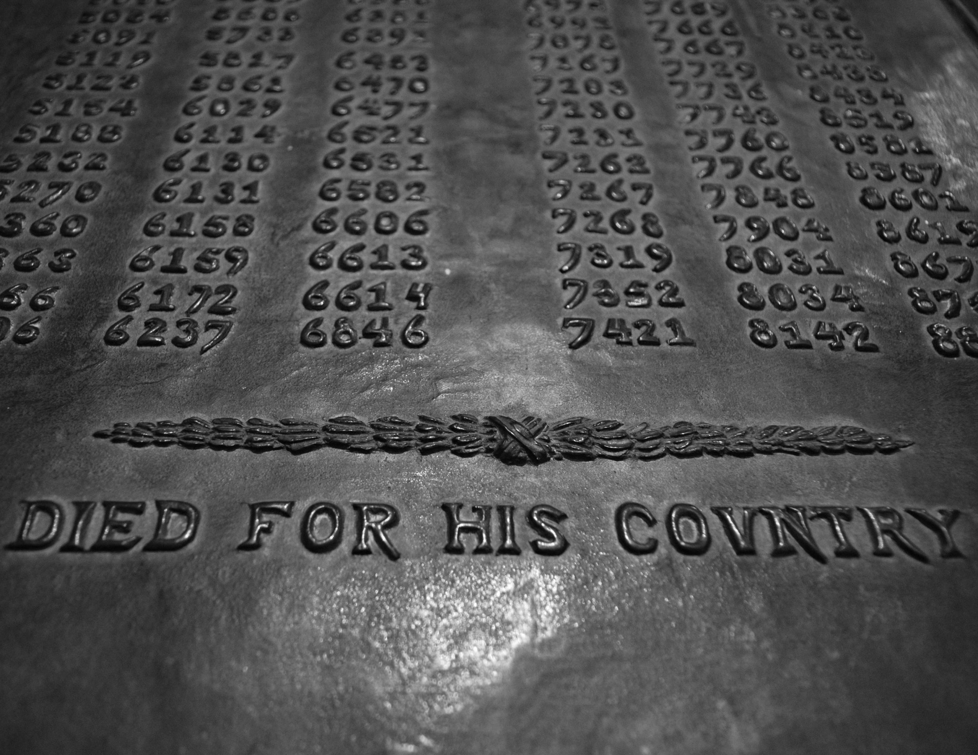 Memorial plaque to those killed in WWI, identified only by their prisoner number.