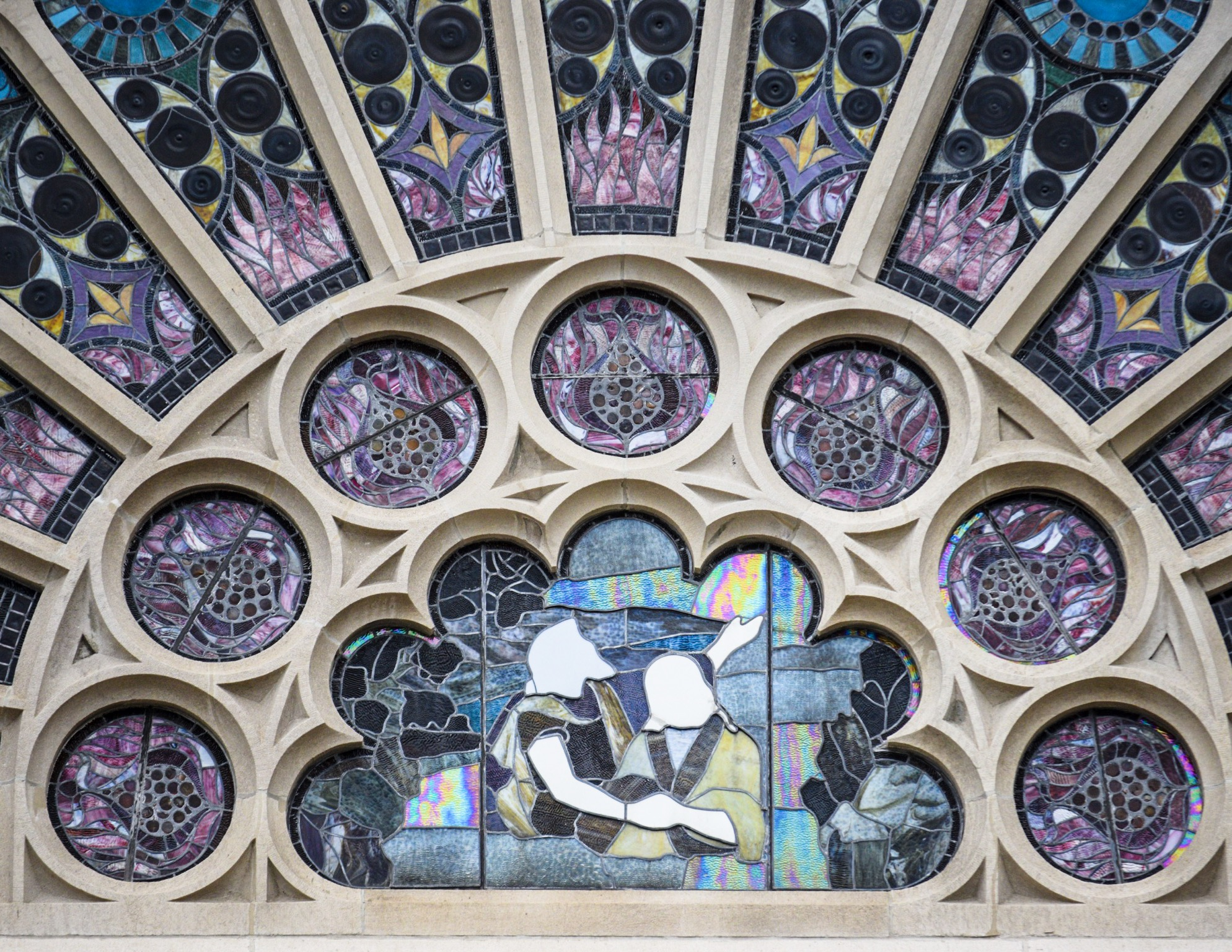 Stained glass at the Temple Performing Arts Center.