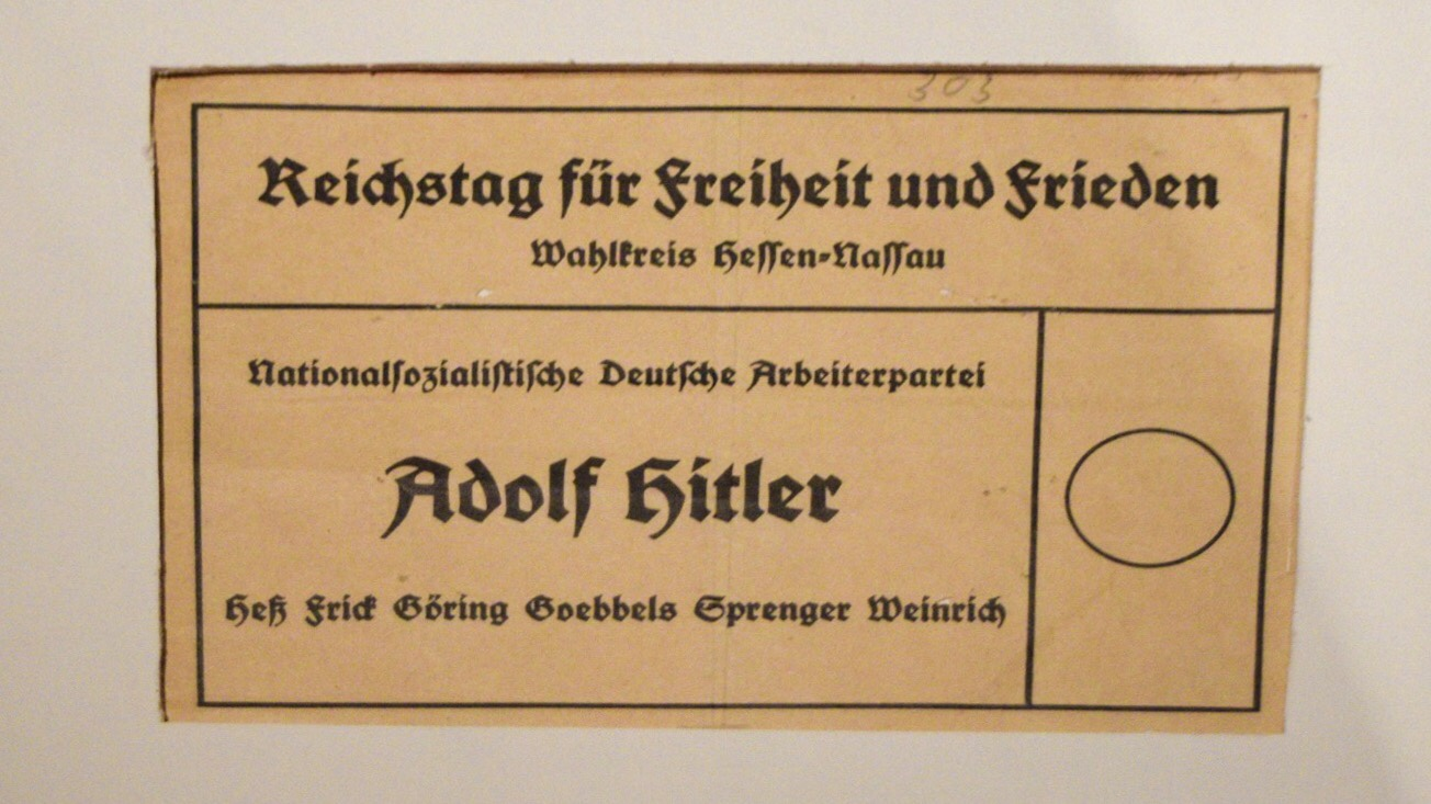 Ballot from Germany, showing only one choice