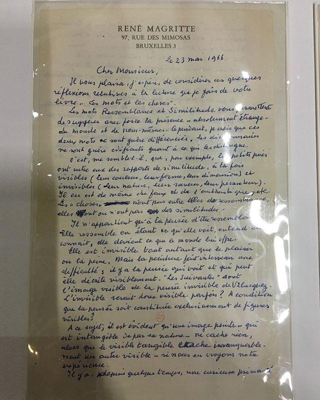 Lettre de René Magritte à Michel Foucault 23 mai 1966 après la lecture des Mots et les choses #expomagritte #magritte #michelfoucault #lesmotsetleschoses