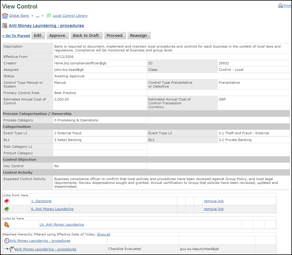 An example control, showing linked data and attached compliance checklists.