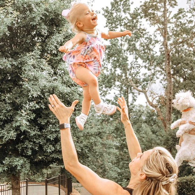 Stella wanted to fly too ☺️. I can't blame her, being tossed in the air used to be my favorite 🤸‍♂️ Here's to hoping our little peanut shares my love for gymnastics and cheer one day #LovingLife #RoswellGA