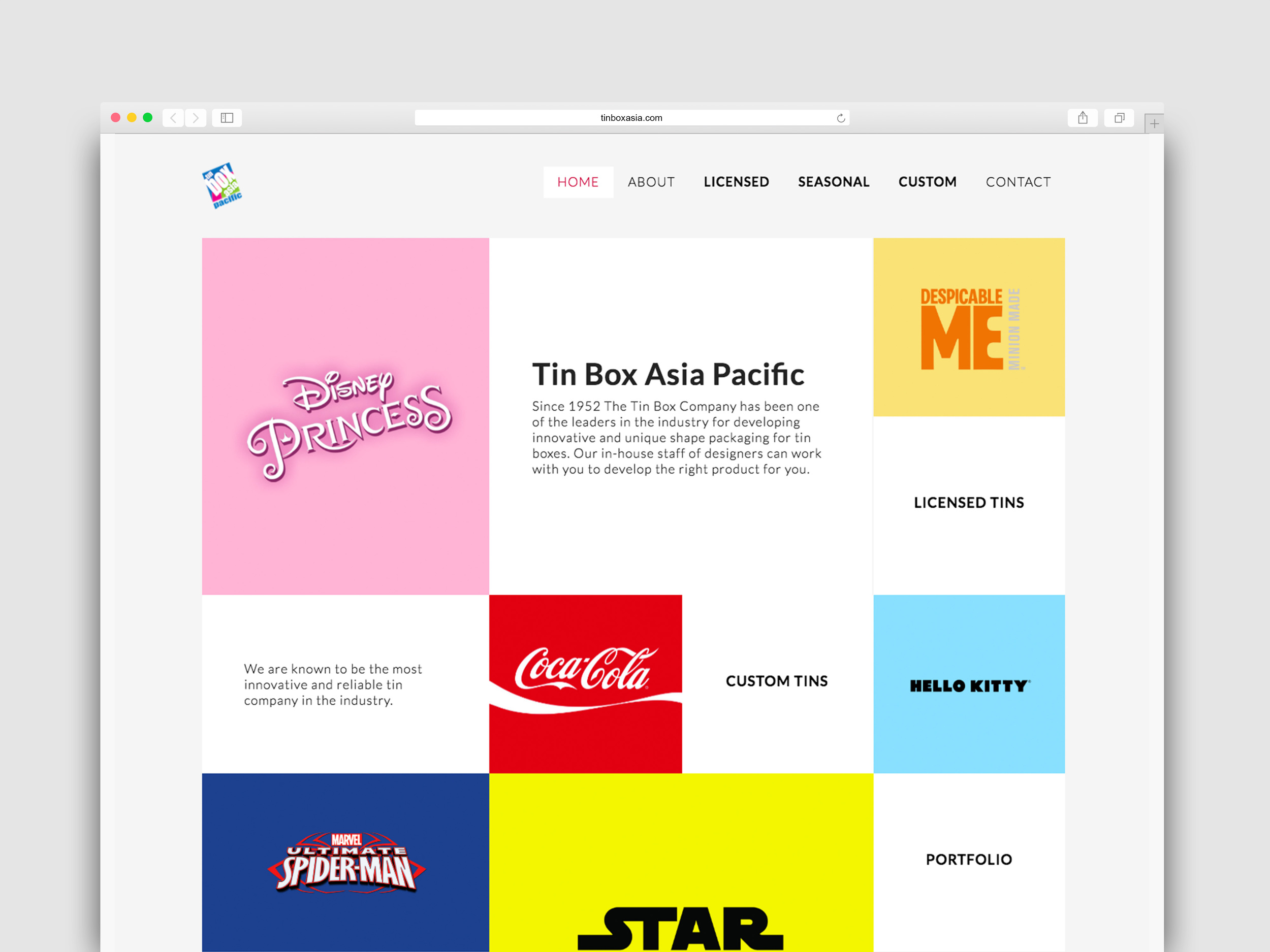 TIN BOX   Tin Box, the 60-year old U.S. tin manufacturer came to me with the goal to design a flexible website to elevate their image of an industry leader and to showcase their extensive portfolio.