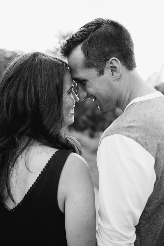 profile shot of couple touching foreheads and smiling - Newmarket lifestyle photography