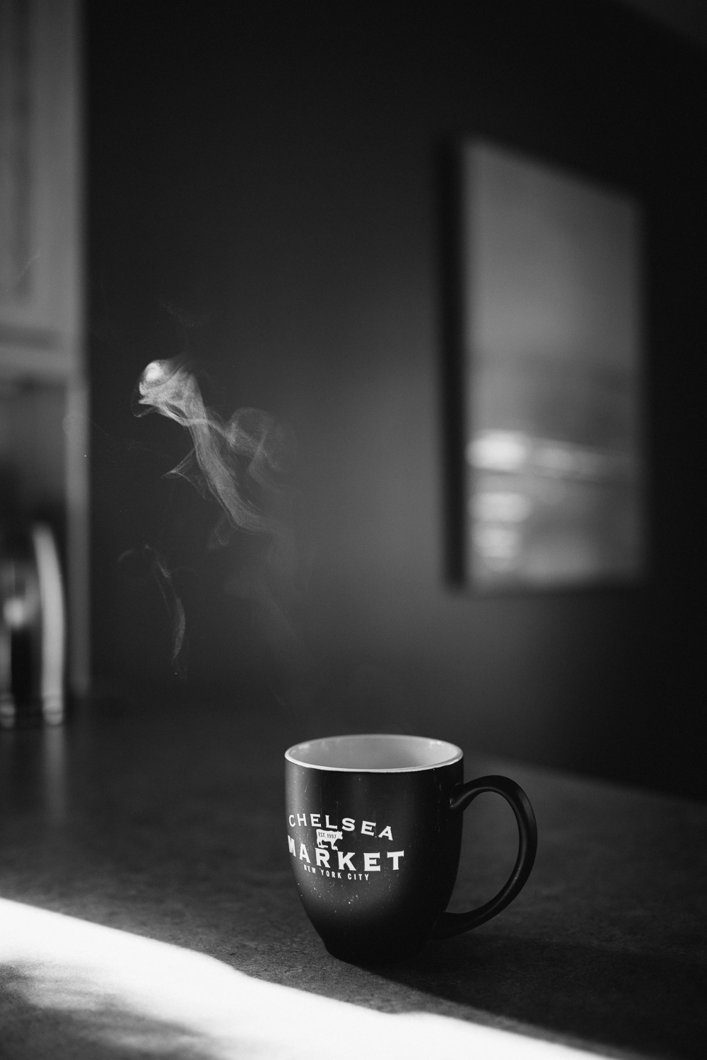 steaming cup of coffee on kitchen counter - Stouffville lifestyle photography