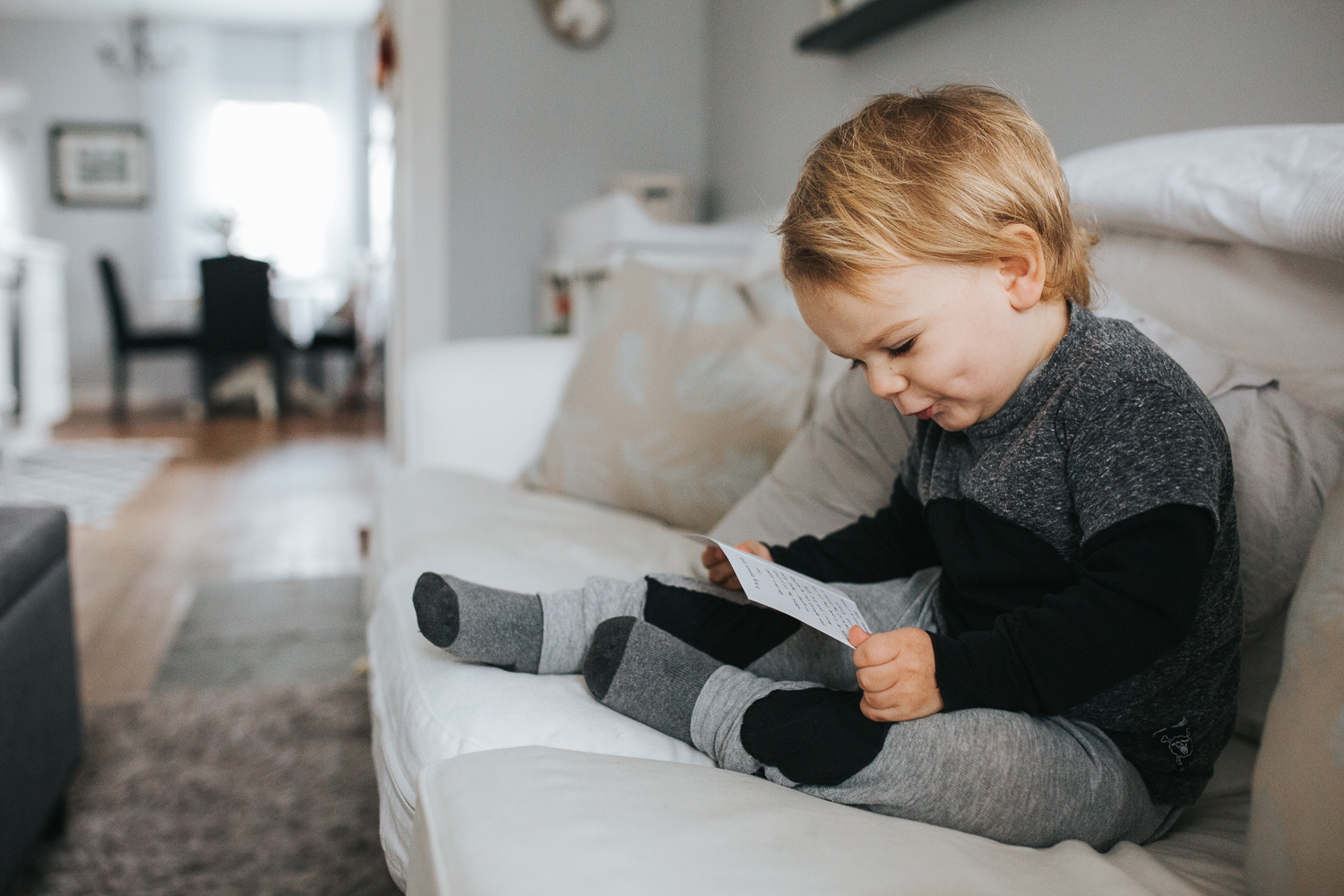 2 year old boy on couch {Toronto Family Photographer}