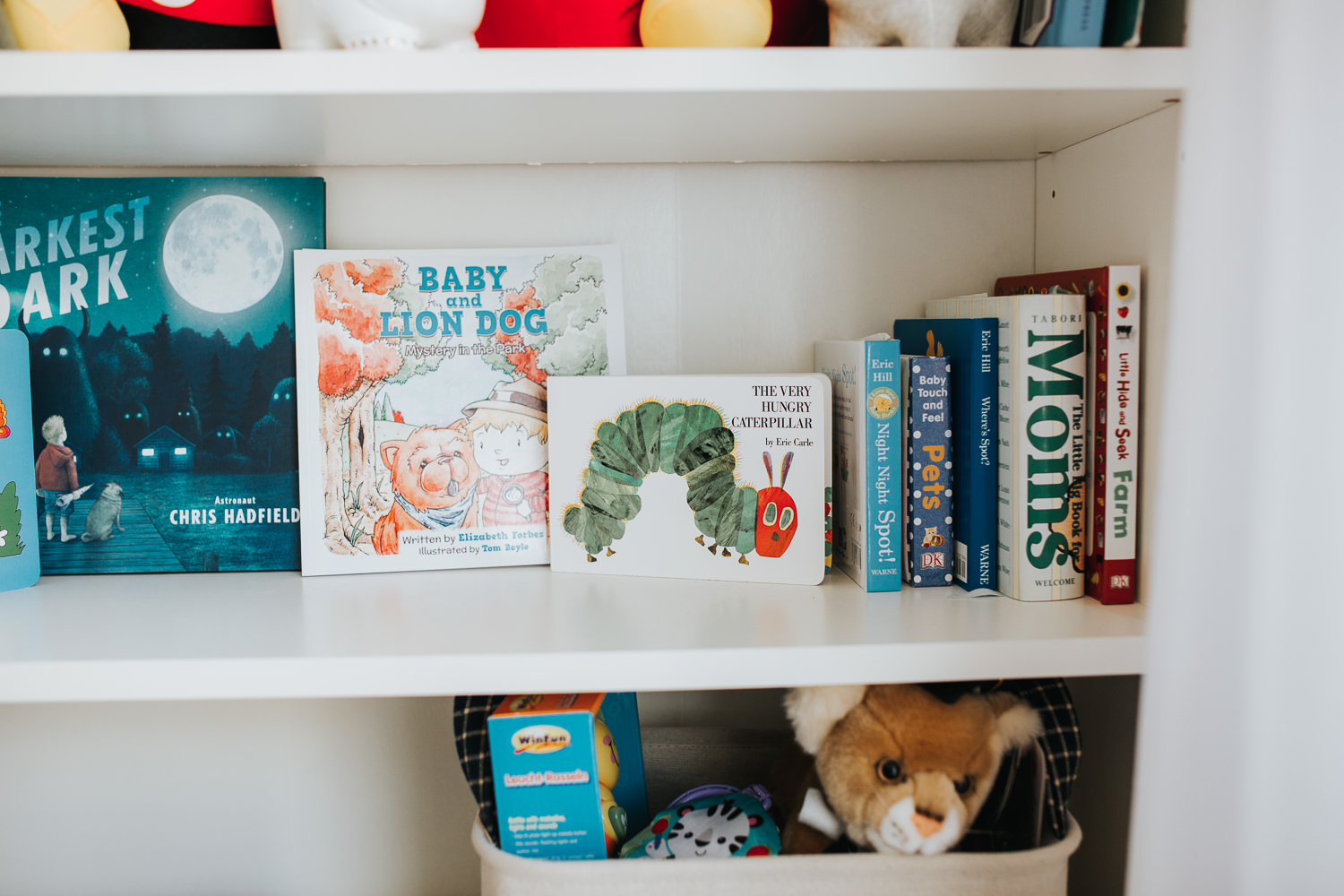 nursery details, children's books on bookshelf - Newmarket lifestyle photography