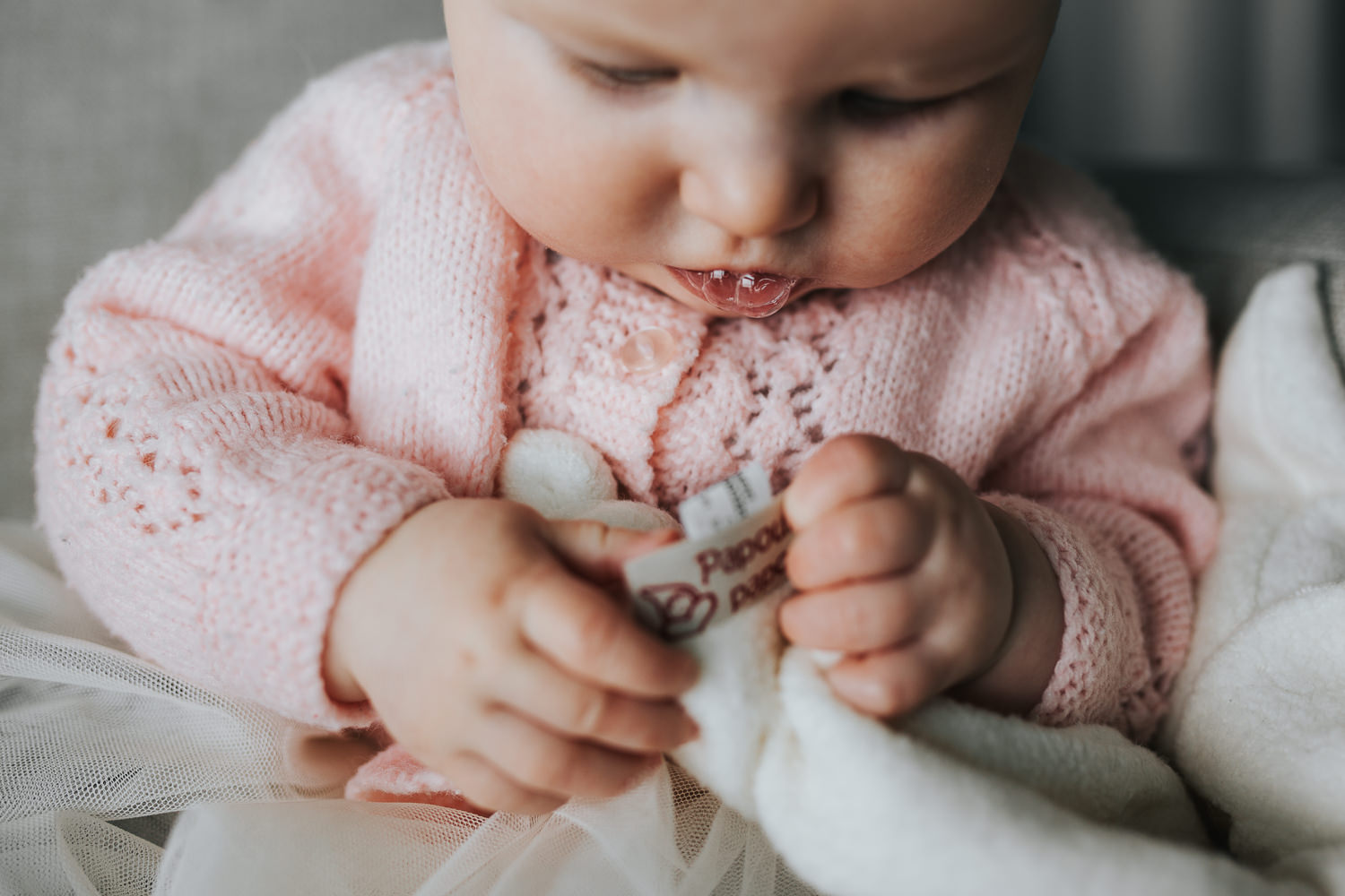 5 month old baby girl in pink sweater playing with toy and drooling - Barrie in-home photography