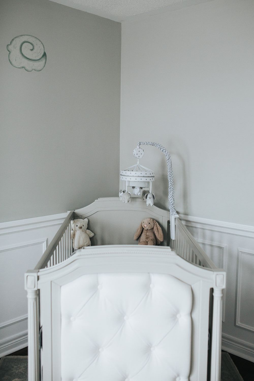 gender neutral nursery details, grey crib - Markham in-home photography
