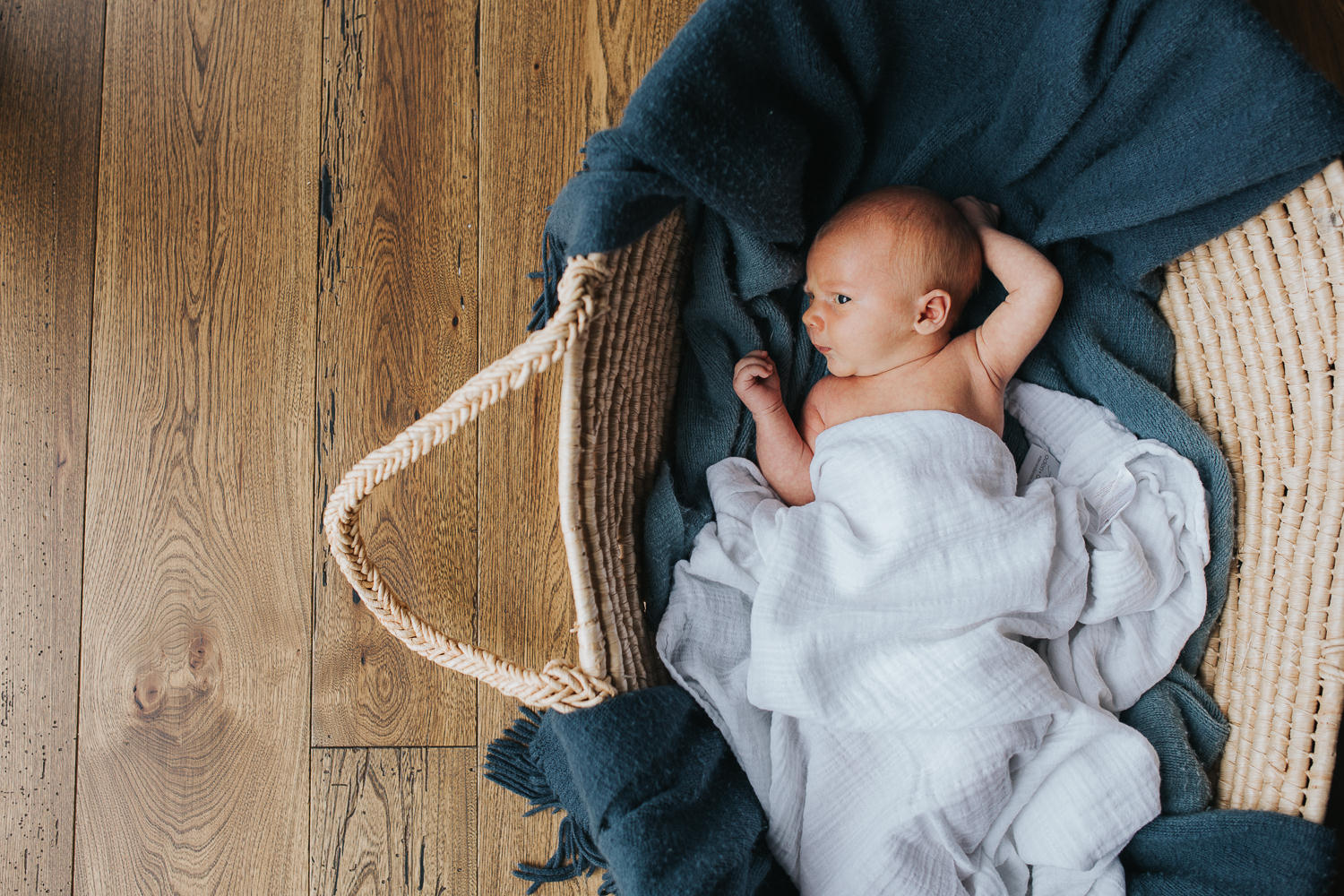 2 week old baby boy lying with arms by face in Moses basket - Markham Lifestyle Photography