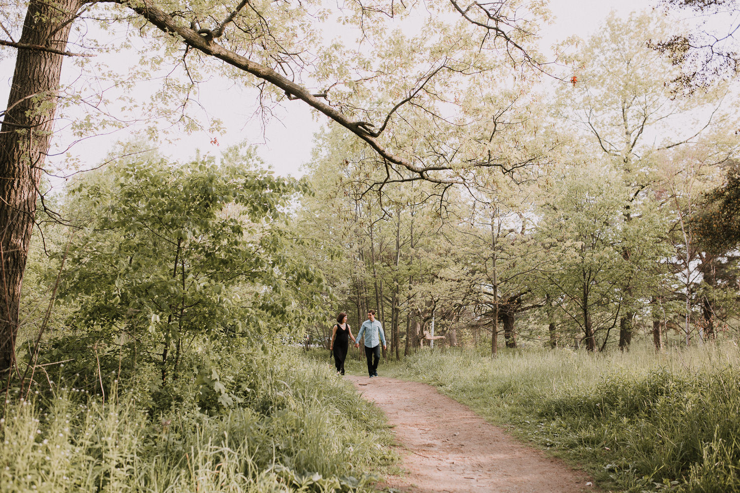 pregnant wife and husband holding hands and walking down forest path -  Newmarket Lifestyle Photography