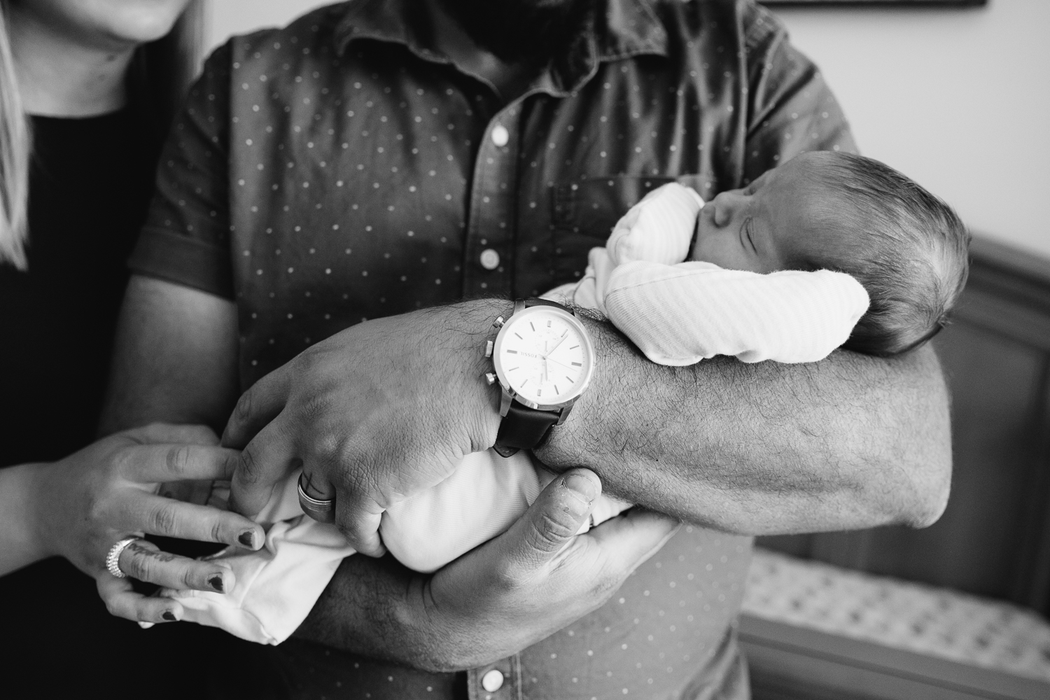 2 week old baby boy sleeping in dad's arms - Stouffville In-Home Photos