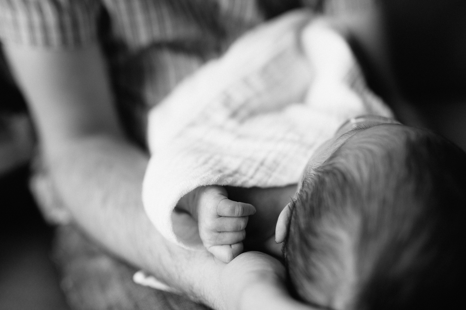 2 week old baby girl in swaddle asleep in father's arms, close up of hand - Barrie Lifestyle Photography