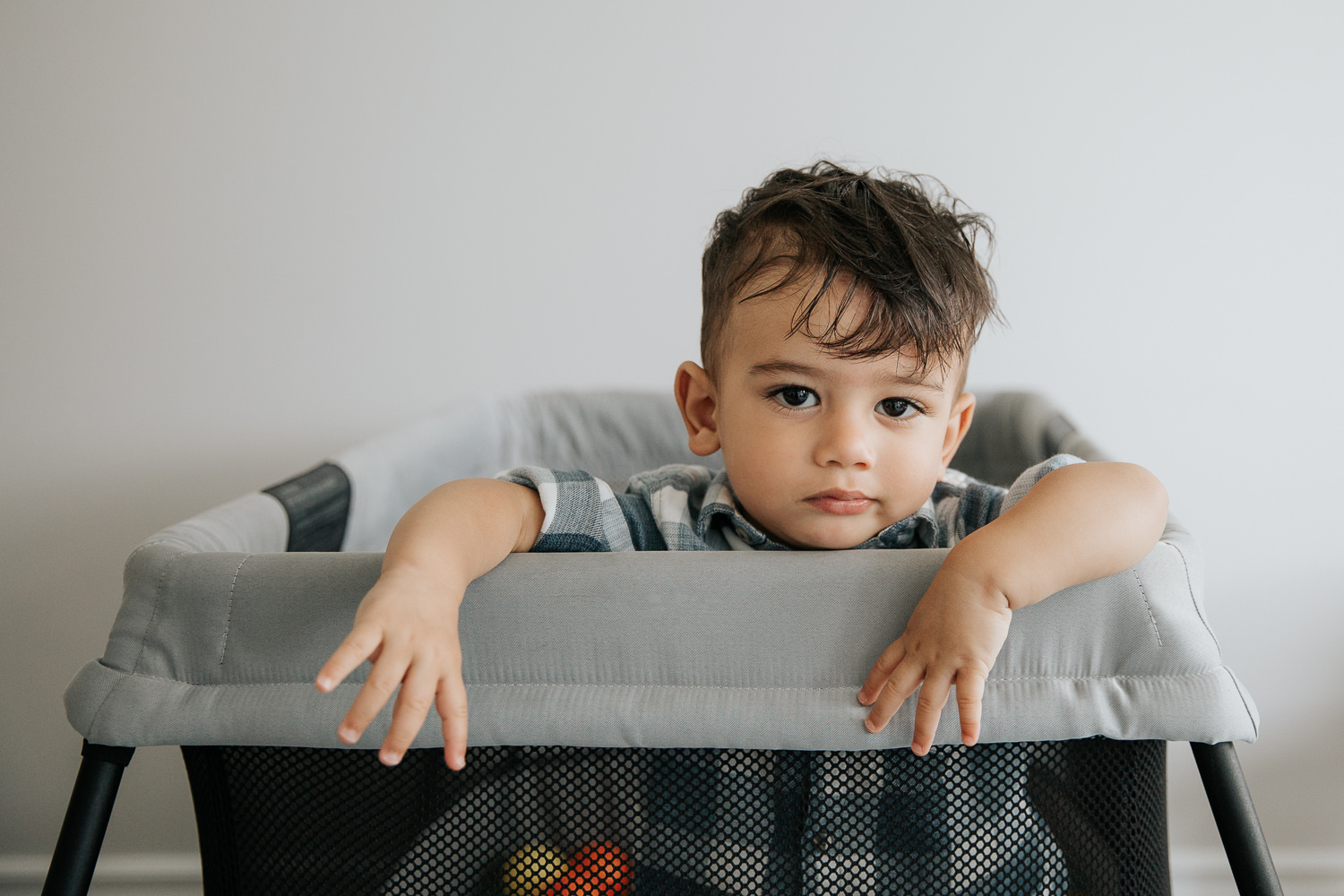 1 year old baby boy with dark hair and eyes in plaid blue and white button down shirt standing in playpen full of plastic balls looking seriously at camera - York Region In-Home Photography