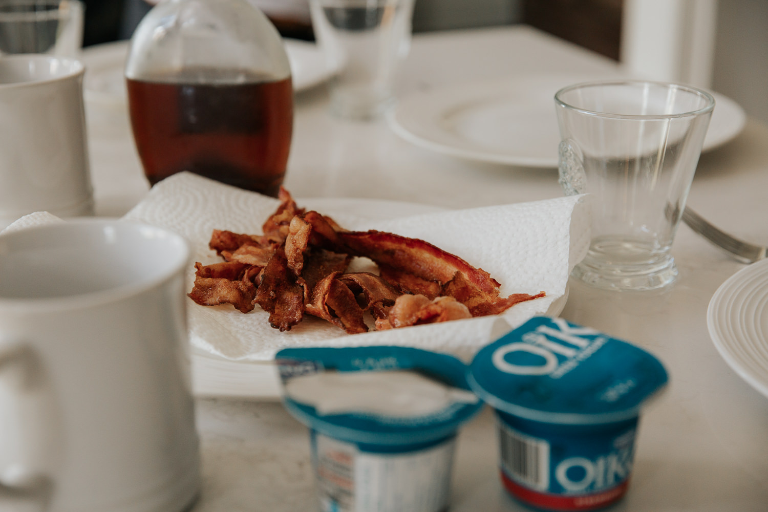 close up of cooked bacon on plate for brunch - GTA In-Home Photos
