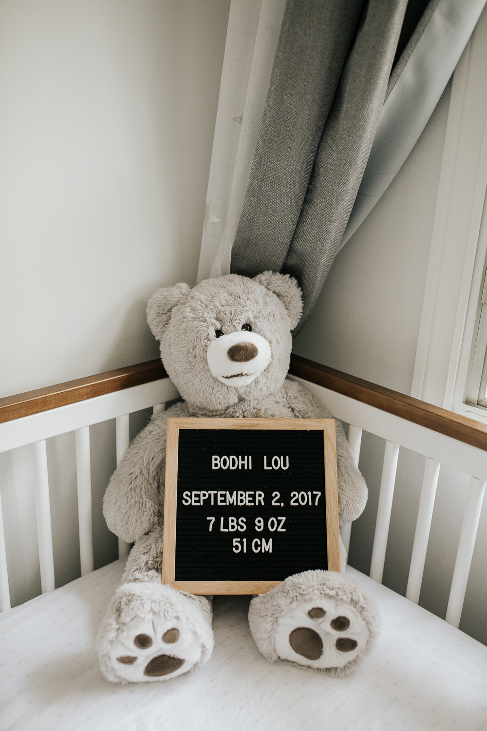 neutral nursery details, large grey stuffed teddy bear sitting in crib holding letter folk board with baby's details spelled out - York Region Lifestyle Photos