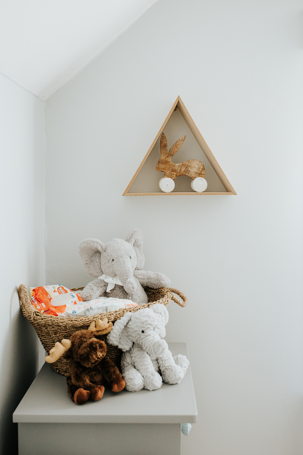 light blue nursery details, stuffed animals - Vaughan In-Home Photos