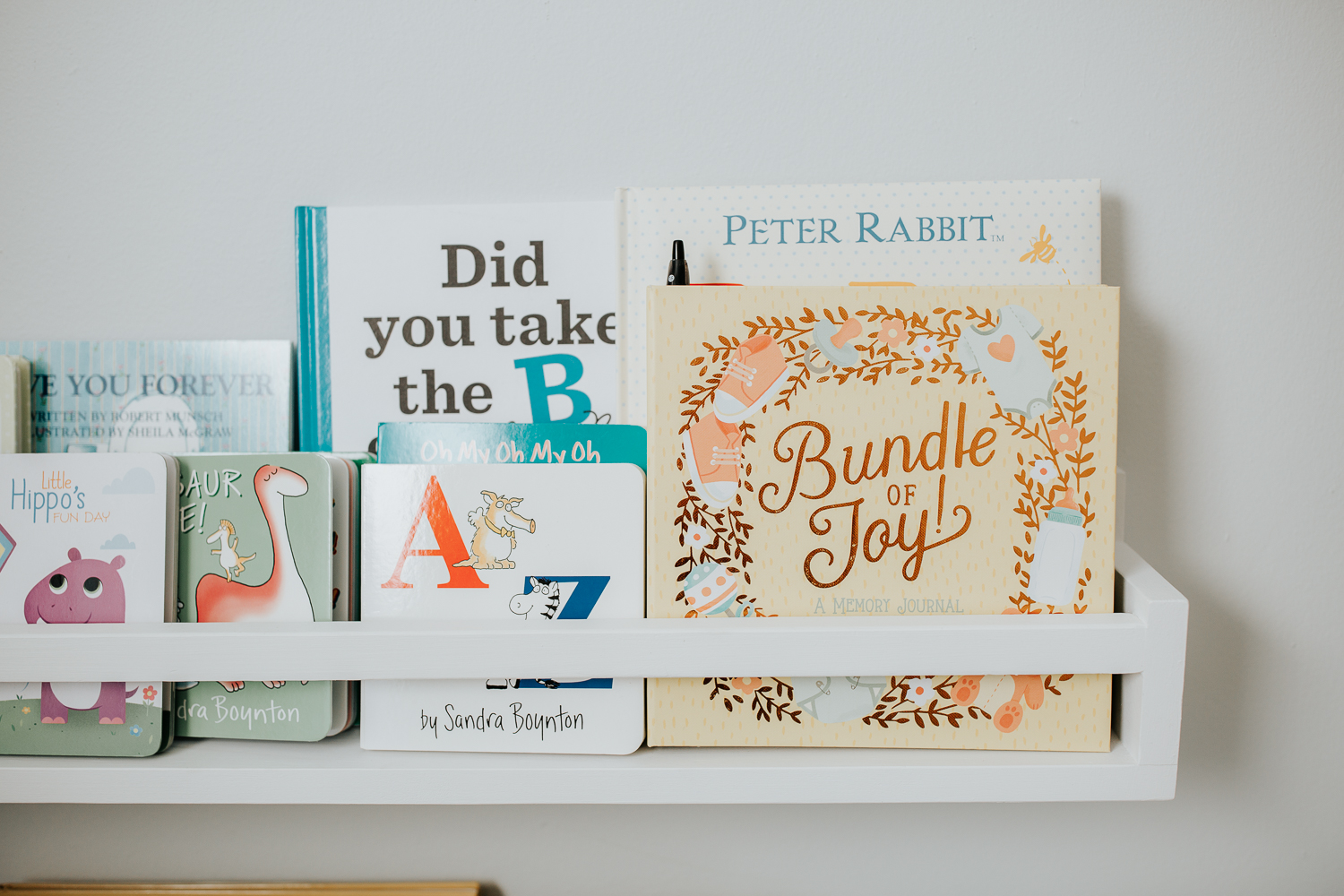 light blue nursery details, books - GTA In-Home Photos