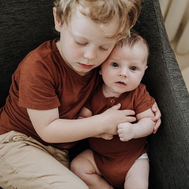 Two months of Rowan 🖤 Two months of watching Levi become the sweetest big brother. .  I've been really feeling the effects of sleep deprivation the past few days and its easy to lose perspective but I've had this image on my phone's home screen and every time I see it I'm reminded of how thankful I am to be their mama. .⠀⠀⠀⠀⠀⠀⠀⠀⠀ Also their first time matching and I never thought I'd be that mom, but it turns out I am 😂🥰 @havenbabyclothing @havenkidsclothing