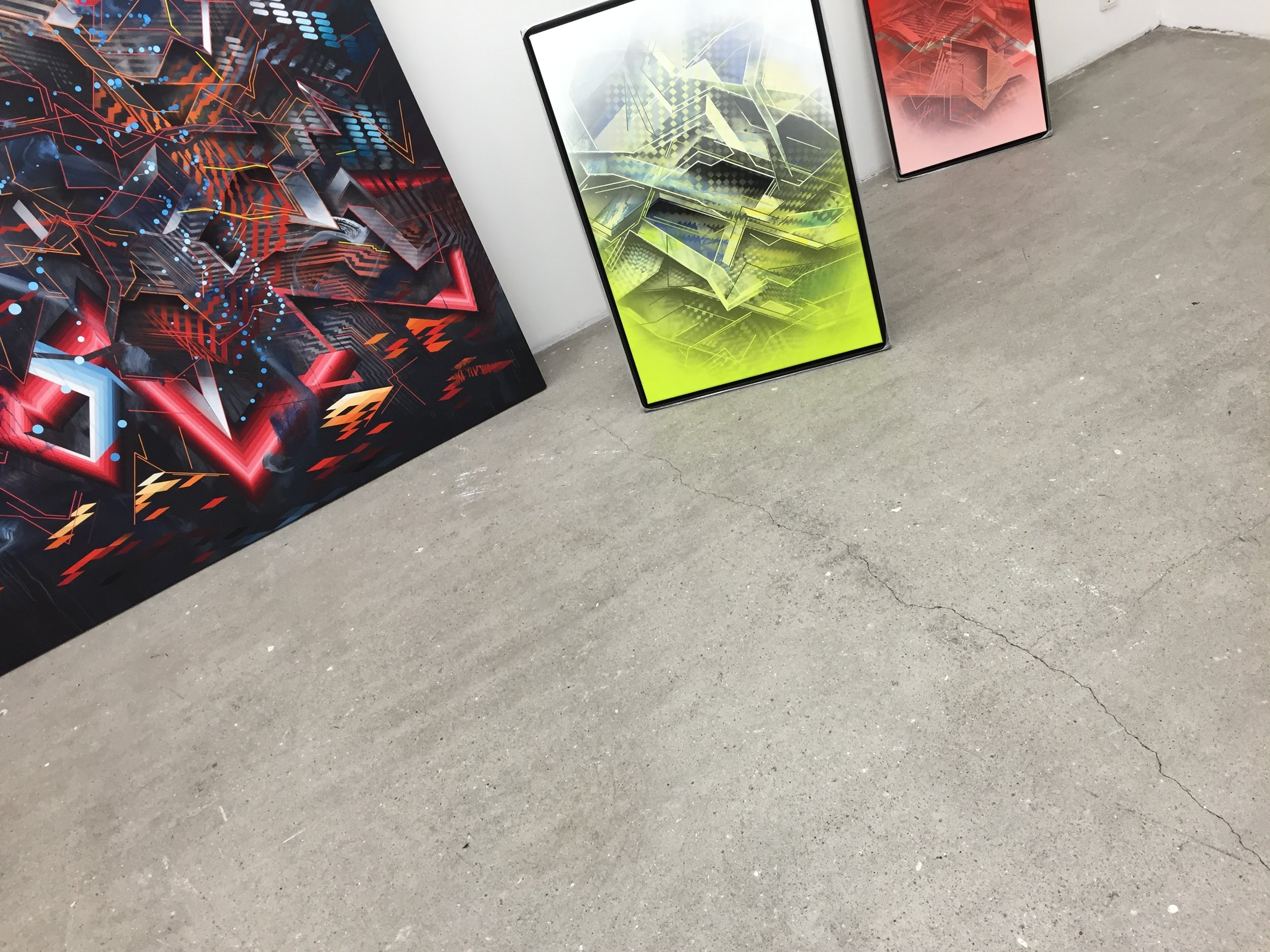 """Paintings from my """"Lazer Layers"""" solo show at Galerie Wolfsen ready to be hung september 2016"""