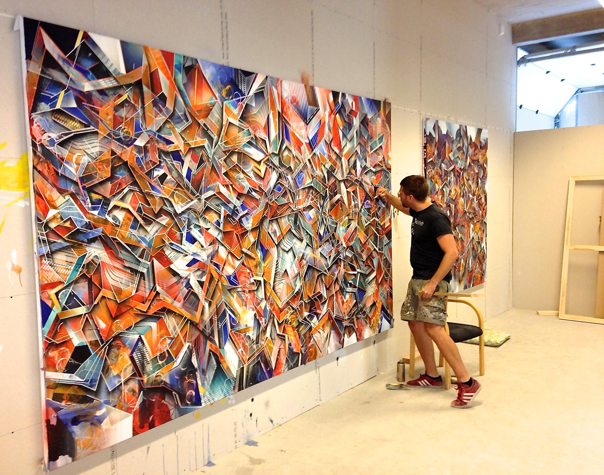 Creating the Neural Handshake 202 x 332 cm painting