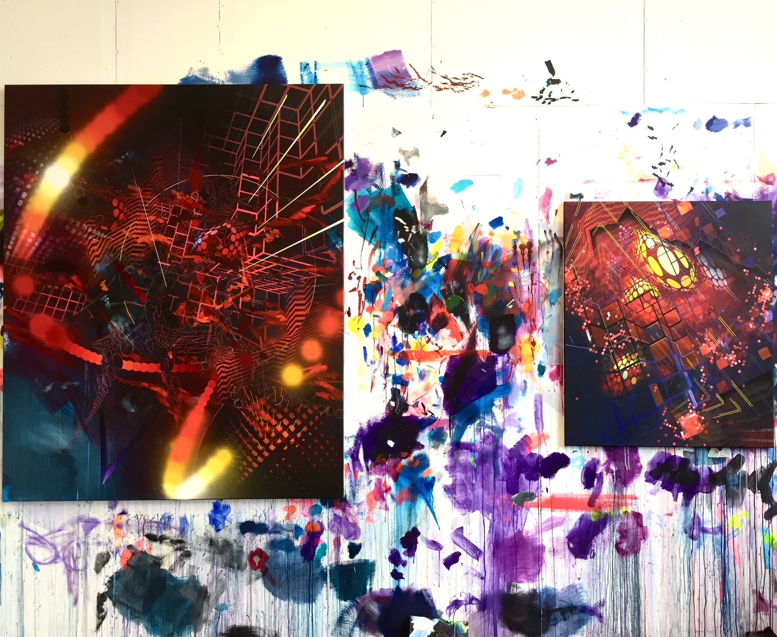 Red pieces on the studio wall.. new elements for more dimension and a darker approach.