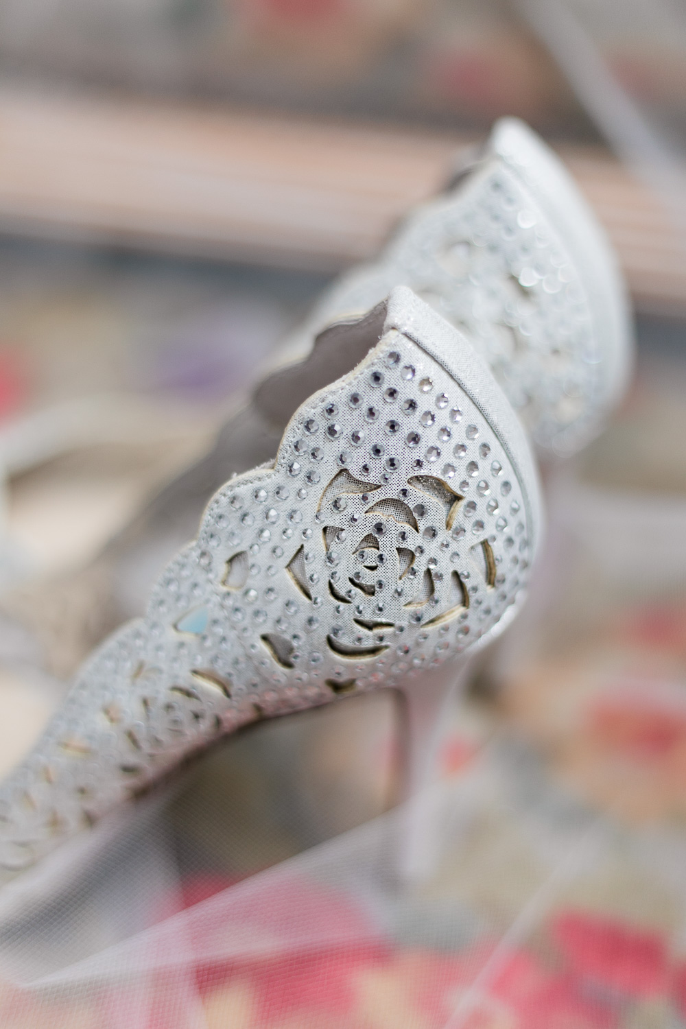 detailed heels of silver wedding shoes
