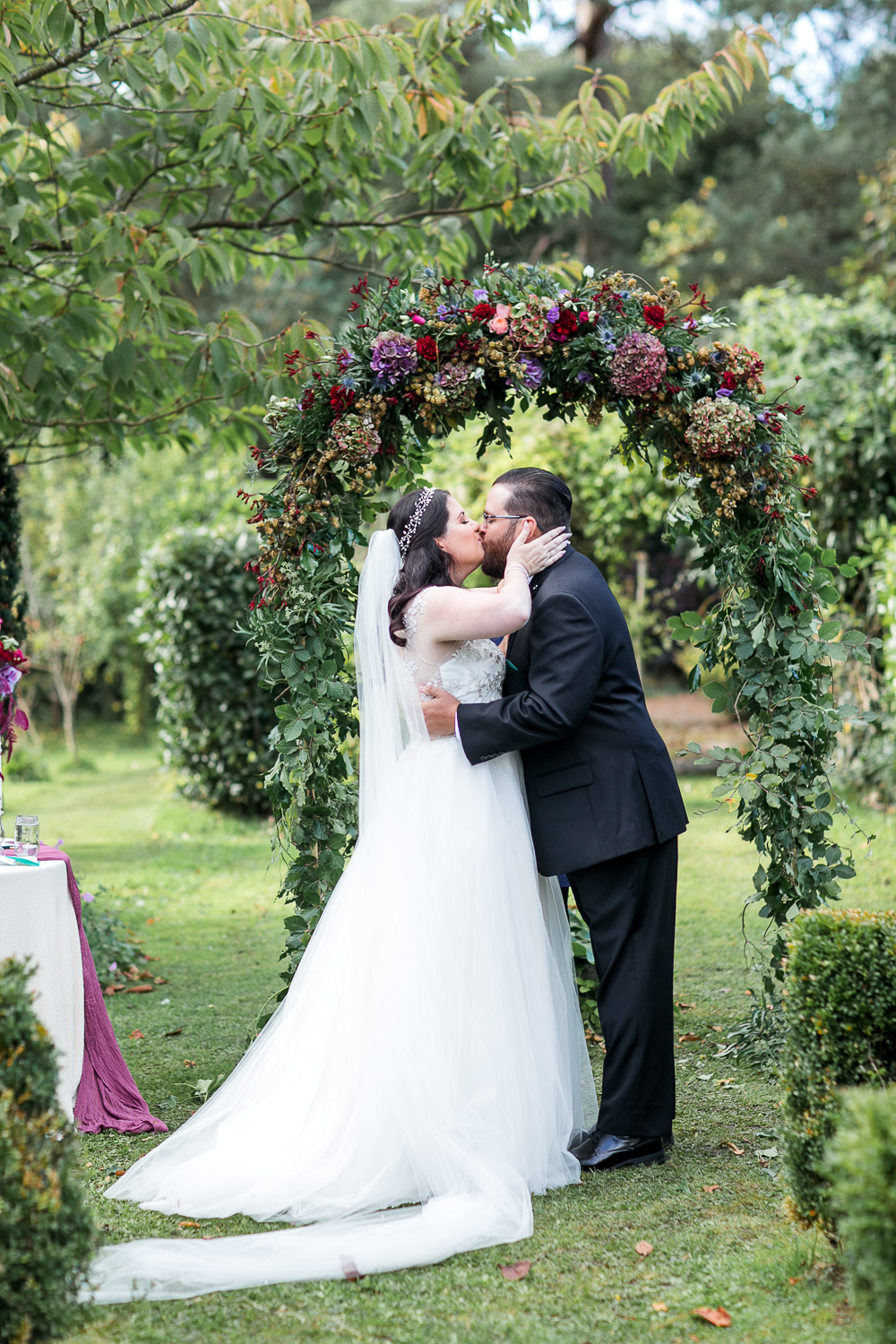 First kiss at the outside wedding ceremony