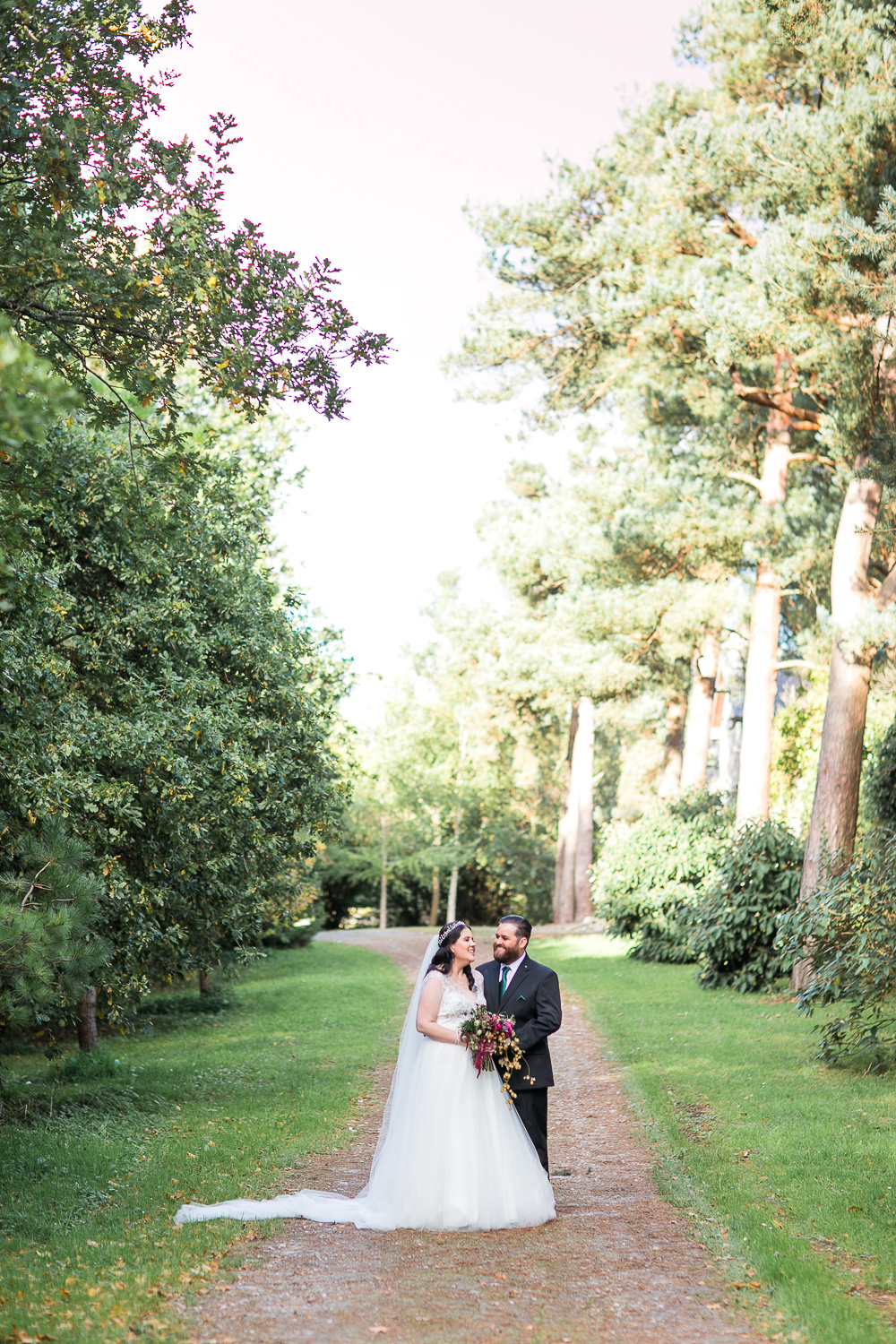 Bride and Groom portraits in a forest surrounding area