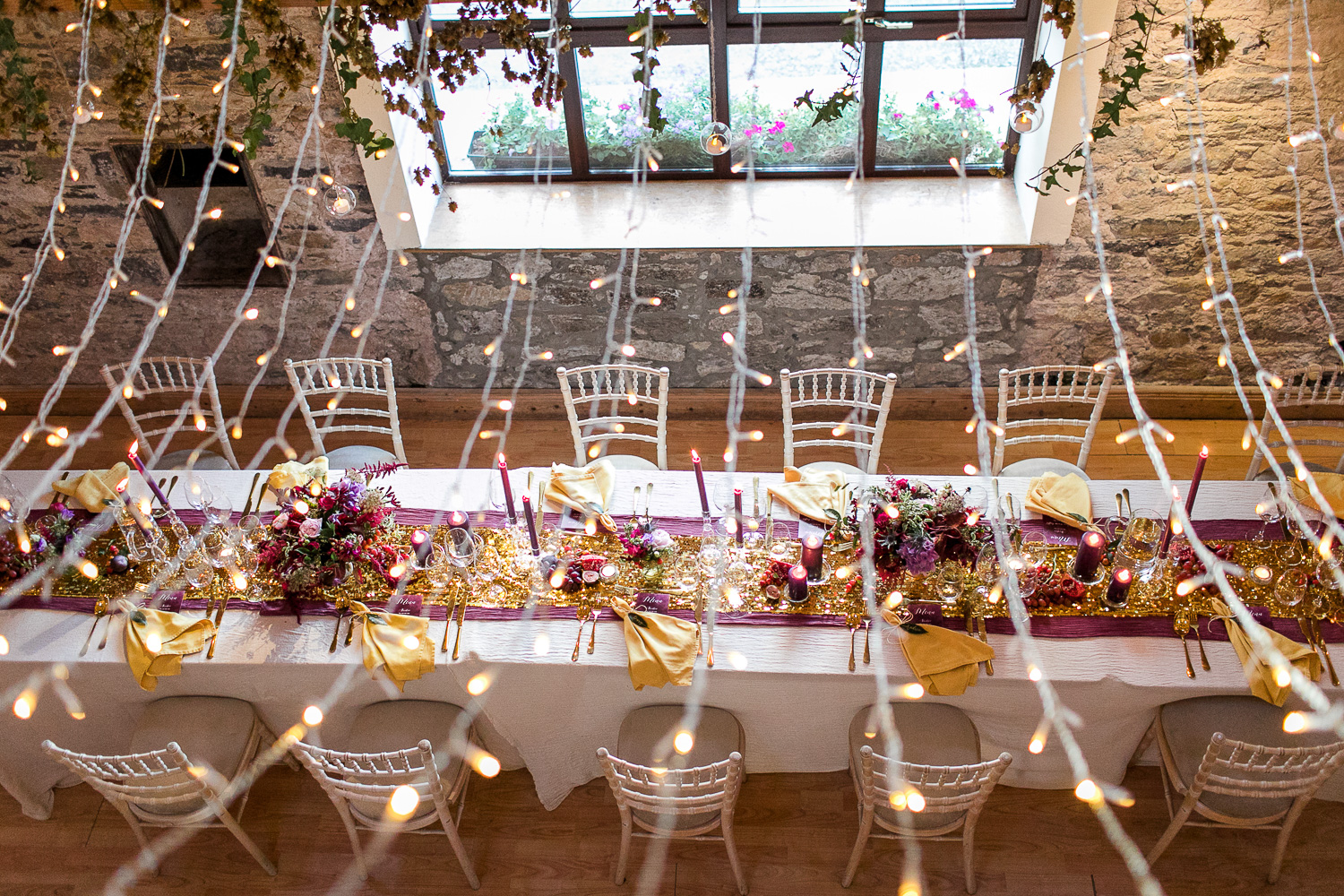 fairy lights for the wedding function room decoration