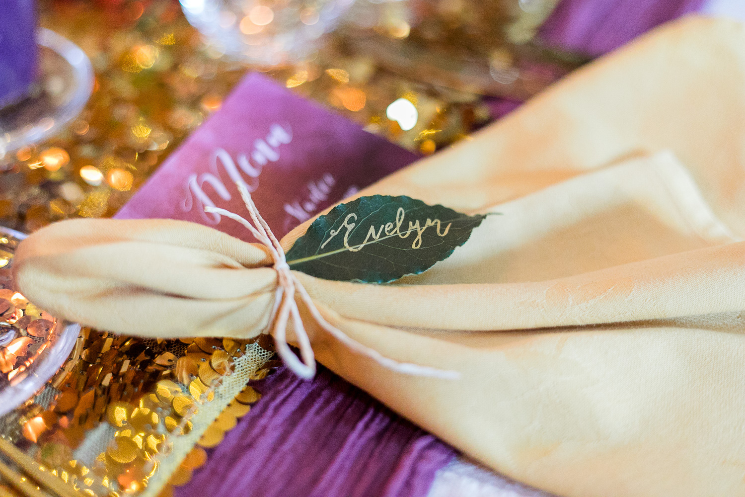 napkin for wedding table table setting with a leaf name tag