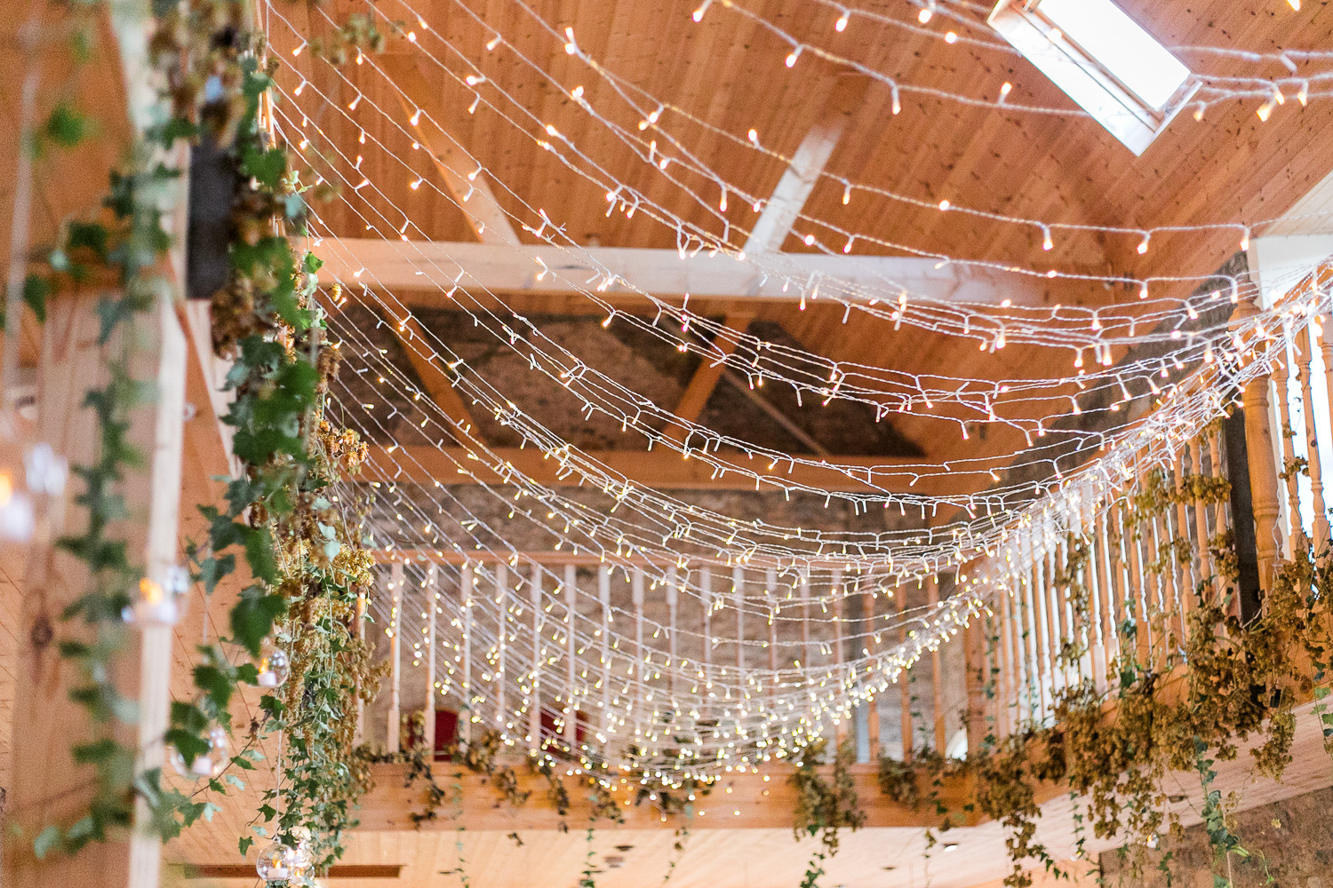 harry potter wedding theme with fairy lights and foliage