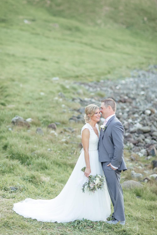 Bride and Groom at Kinbane Castle in Northern Ireland