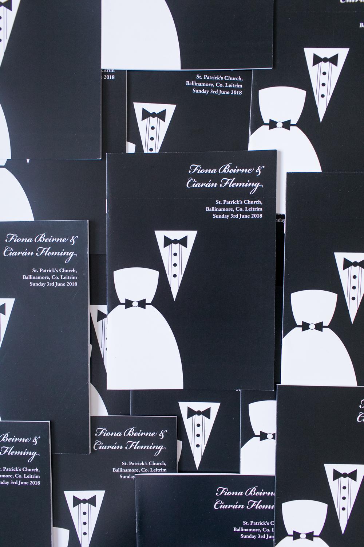 black tie wedding ceremony booklets black and white