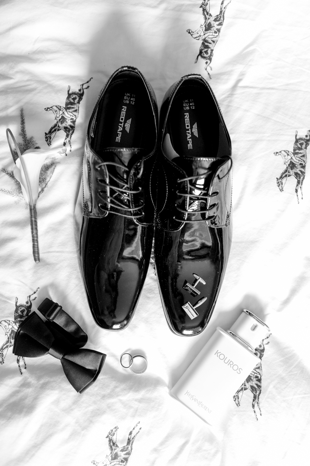 black patent shoes and bow tie for black tie wedding