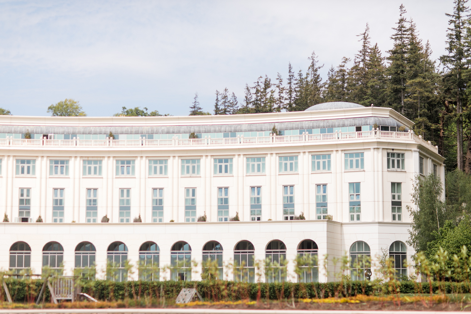 the back of the powerscourt estate before the ceremony begins on a sunny summer afternoon