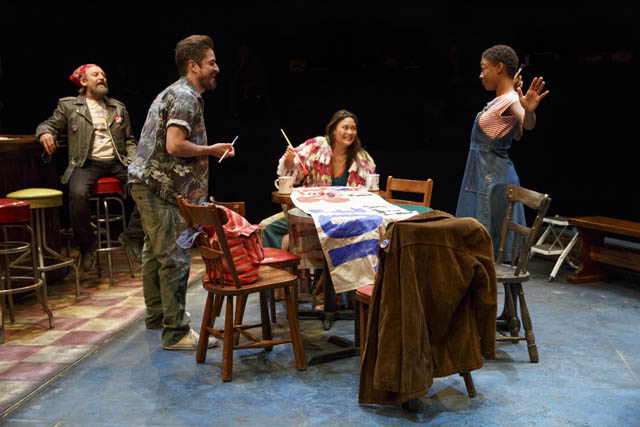"""""""A coterie of colorful regulars hang out, share the local news, and support each other through major life events . Daphne's Dive pulsates with life and Philly flavor."""" - Broad Street Review   Gordon Joseph Weiss, Matthew Saldivar, KK Moggie, and Samira Wiley"""