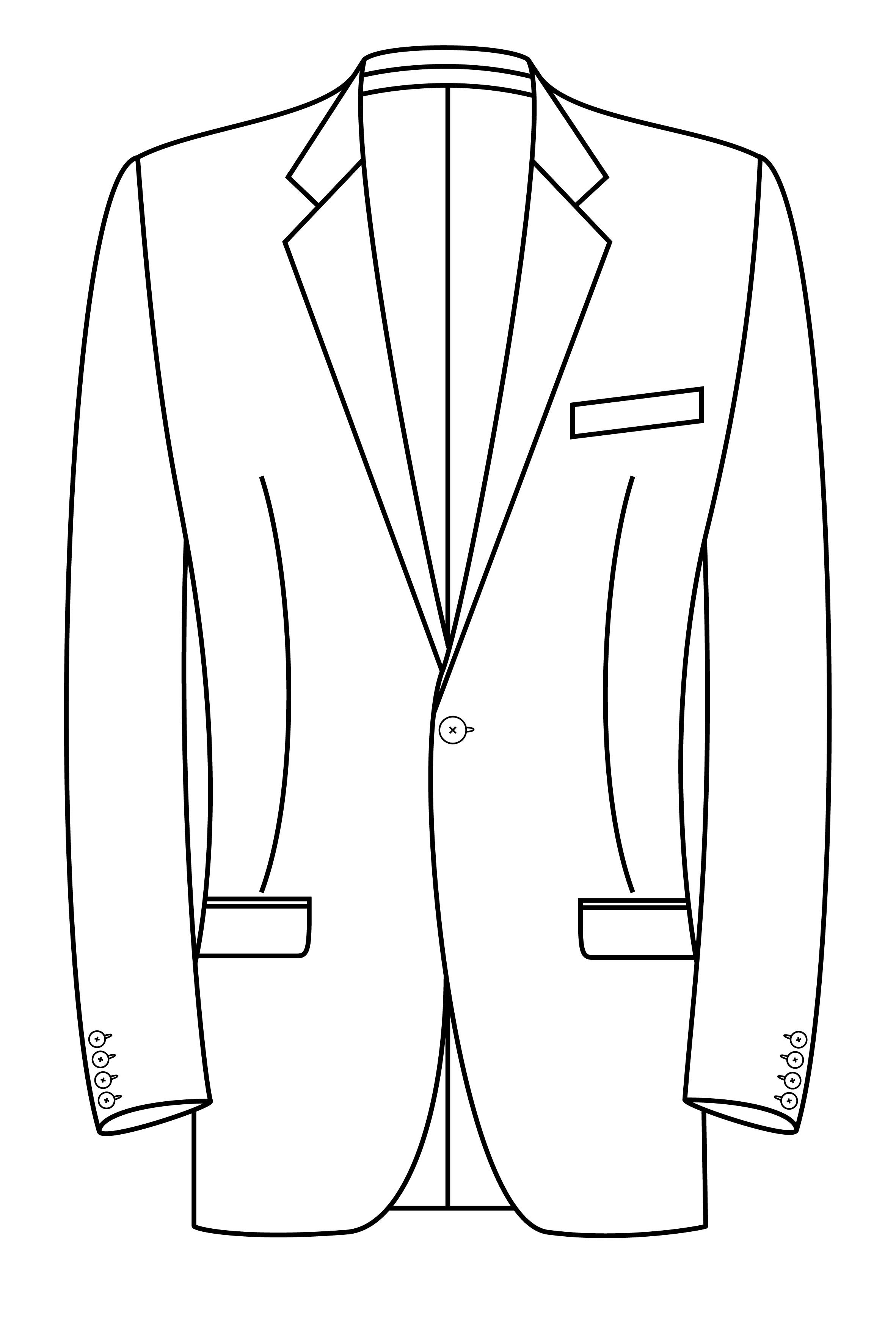 1 knoops jas met weggesneden revers